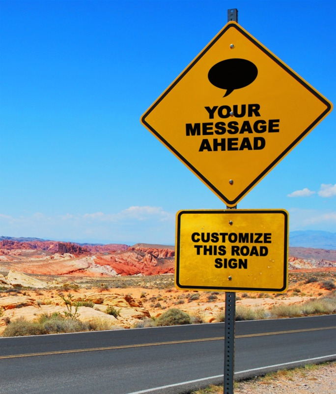 This Presentation Clipart shows a preview of Desert Road Sign