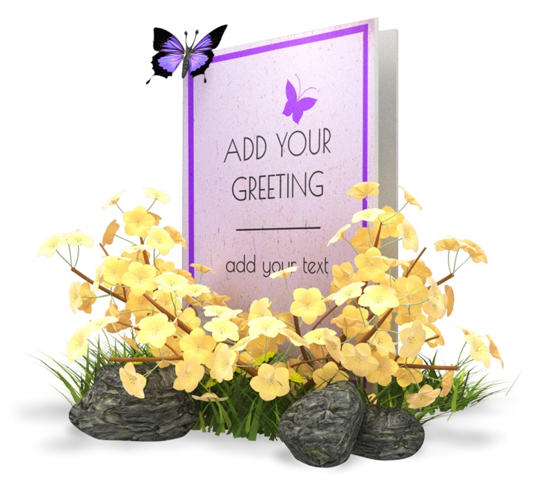 A spring or summer themed greeting card sits in a beg of grass and flowers. You can add your own greetings or image to this card using our on-line tools.