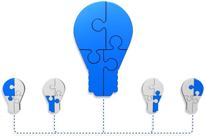 Clipart - Light Bulb Puzzle Build Diagram