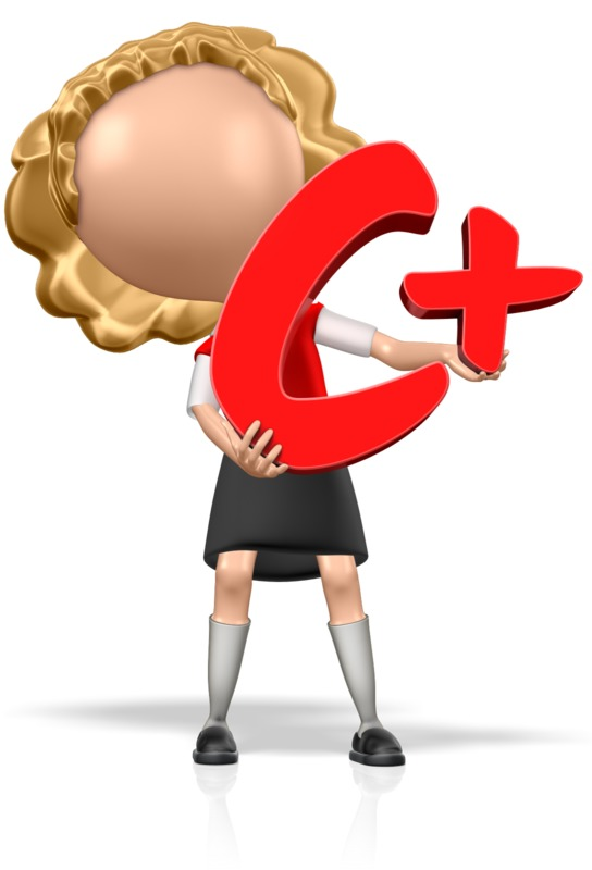 Clipart - School Girl Holding a C+
