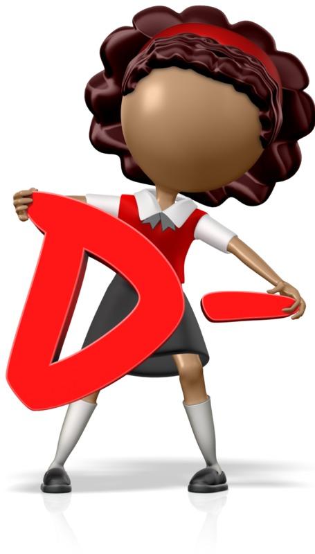 Clipart - School Girl Holding a D-