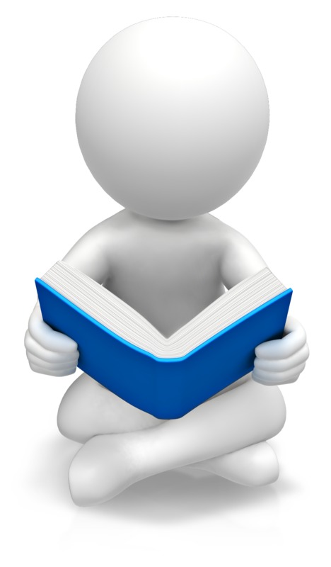 Clipart - Figure Sitting Reading Book