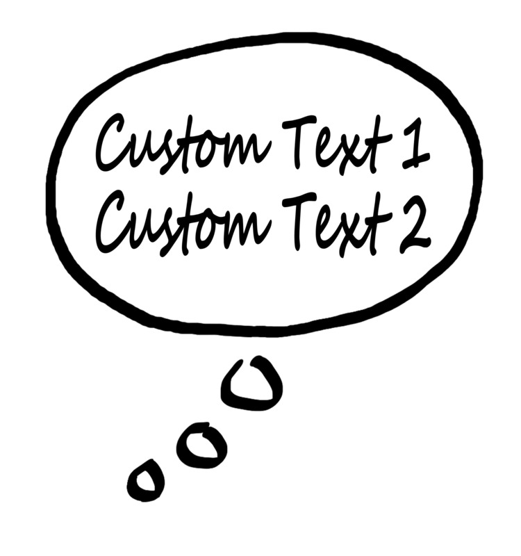This Presentation Clipart shows a preview of Thought Bubble Custom Text