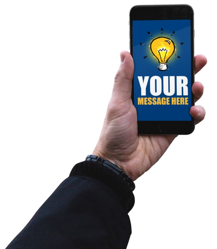 This Presentation Clipart shows a preview of Man Holding Smartphone