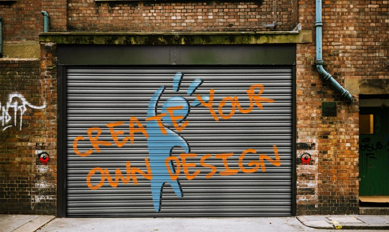 This Presentation Clipart shows a preview of Graffiti On Warehouse Door Custom