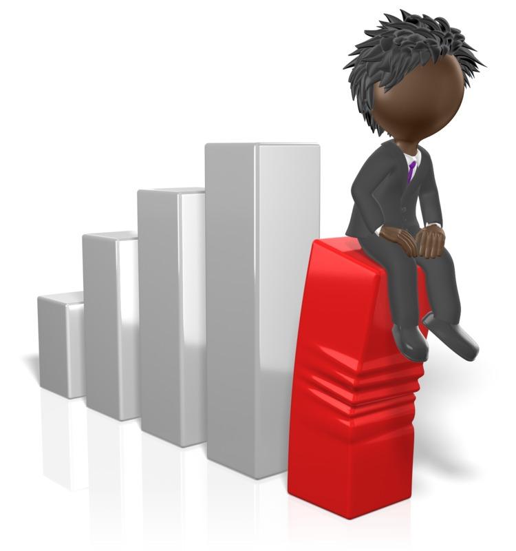 Clipart - Businessman Sit On Graph