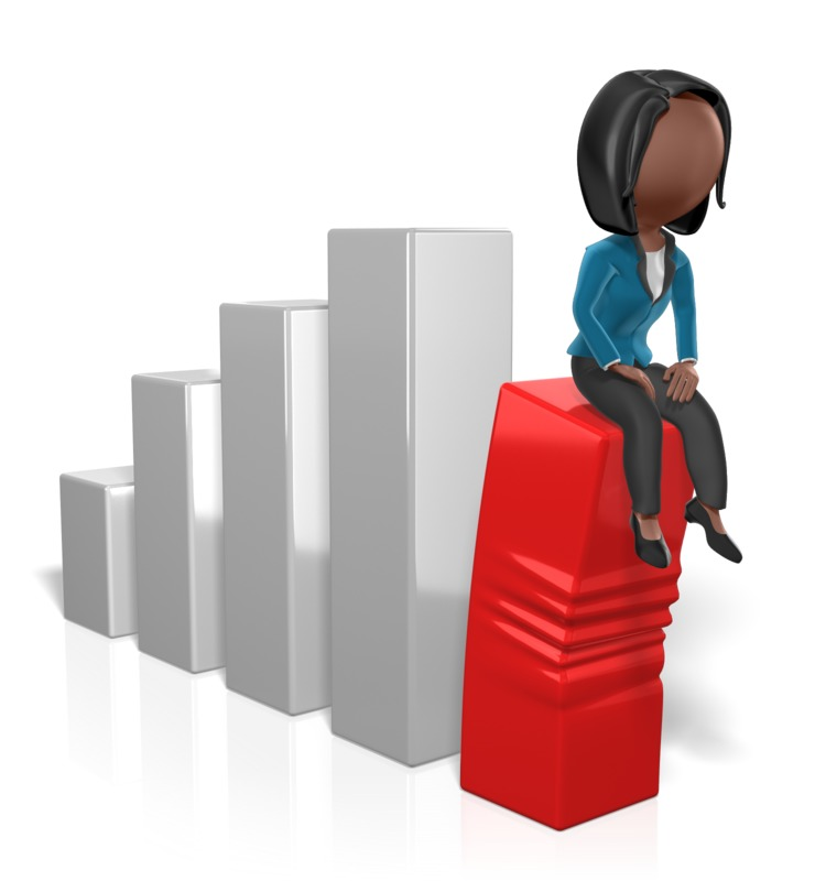 Clipart - Business Woman Sit On Graph