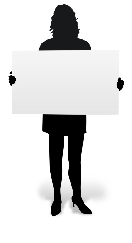 Clipart - Woman Holding Board Silhouette