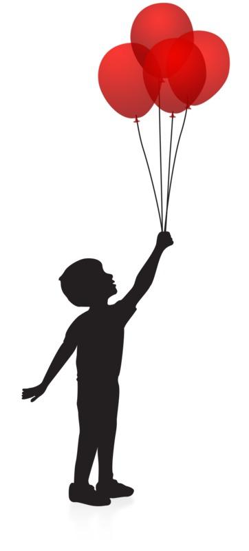 Clipart - Boy Balloons Silhouette