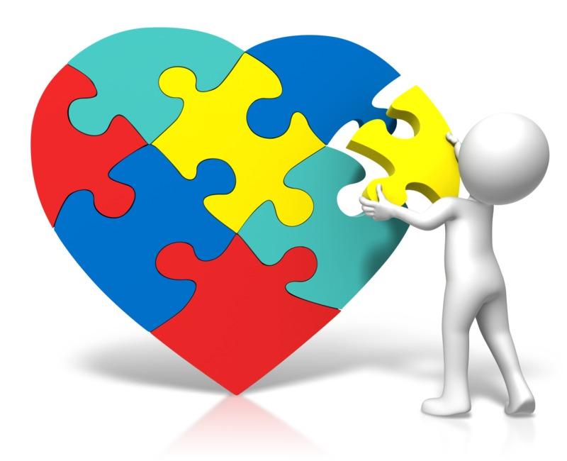 Clipart - Autism Heart Puzzle Insert