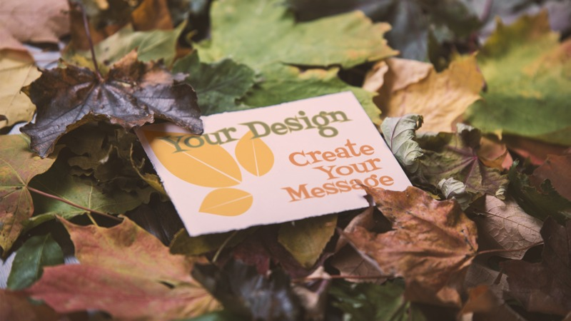 This Presentation Clipart shows a preview of Message Card In Leaves Custom