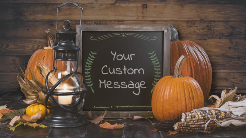 This Presentation Clipart shows a preview of Rustic Pumpkin Chalkboard Custom
