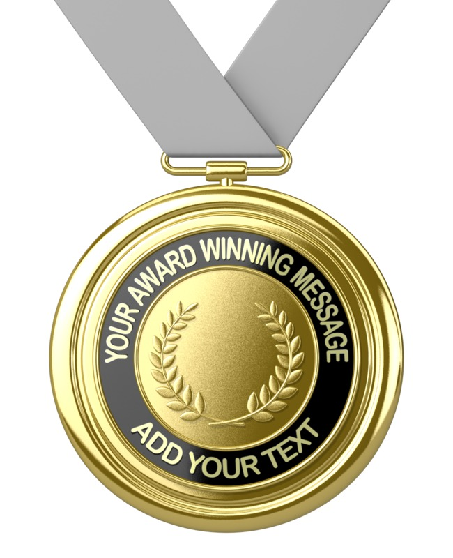 A gold medal with custom text. You may add your own message to the medal using our on-line tools.