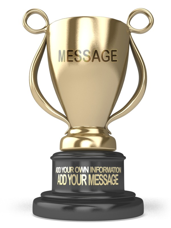 Add your own message to this gold trophy using our on-line tools.
