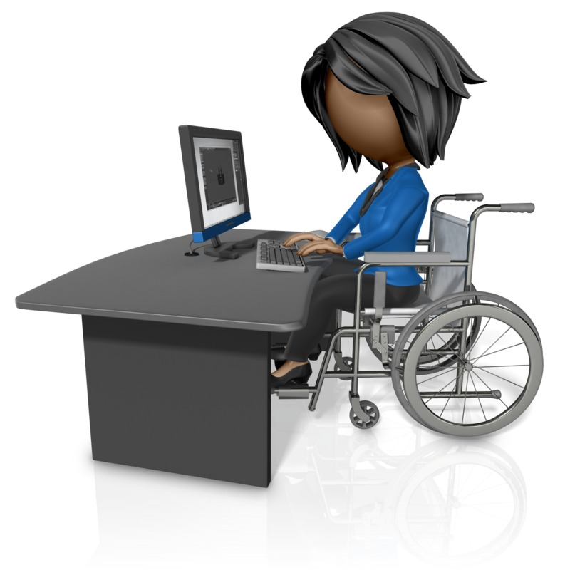 Clipart - Woman In Wheelchair Working At Desk