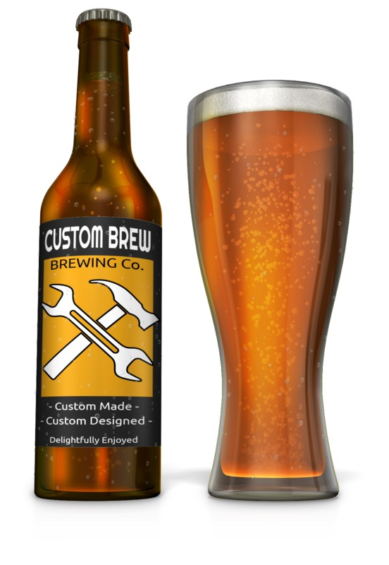 This Presentation Clipart shows a preview of Custom Beer Bottle with Filled Glass