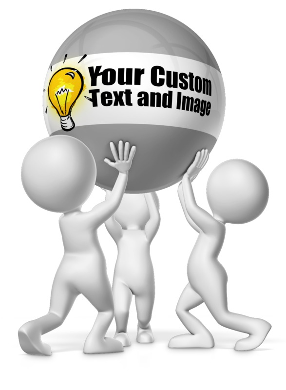 This Presentation Clipart shows a preview of Three Figures Holding Custom Ball