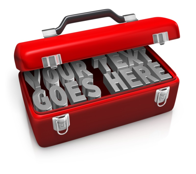 This custom text clip art shows a tool box with two lines of custom text inside.