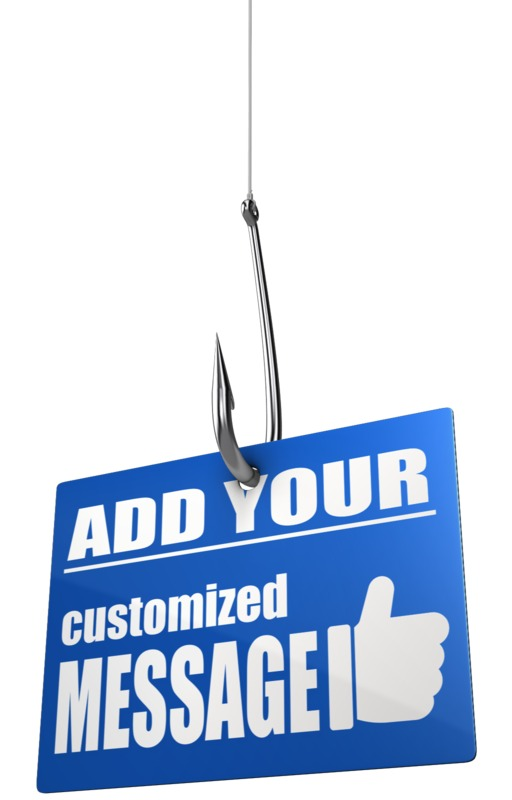 This custom design clip art shows a sign hooked by a fishing hook.  You can customize the sign by adding your own text and images using our online customizer.