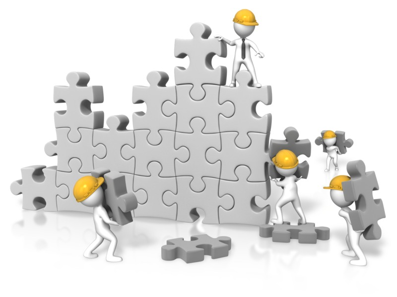 Clipart - Puzzle Wall Construction Team