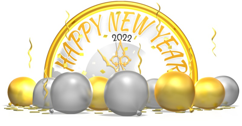 This Presentation Clipart shows a preview of New Years Clock Behind Balloons Confetti