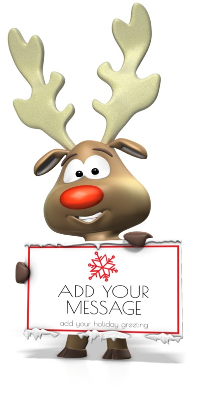 This Presentation Clipart shows a preview of Reindeer Holding Sign