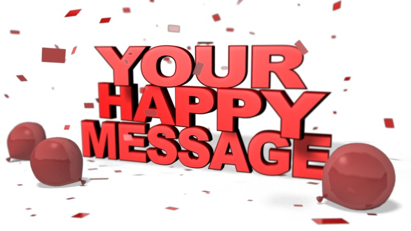 This Presentation Clipart shows a preview of Happy Custom Message