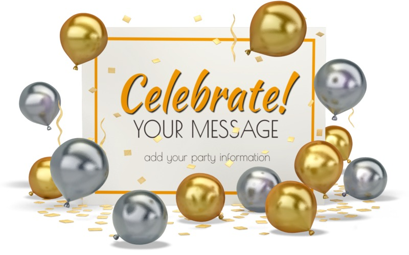 Add your own message to this card surrounded with confetti and balloons.