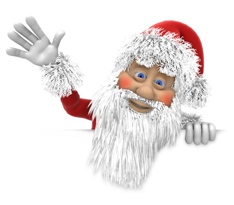 Clipart - Santa Waving Above Wall