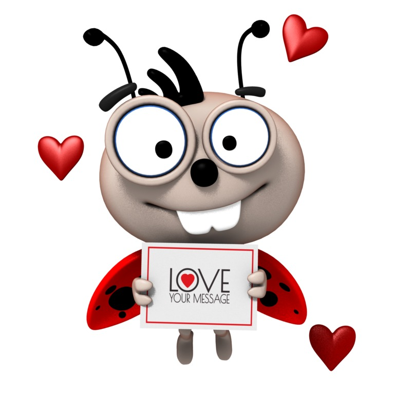 This Presentation Clipart shows a preview of Love Bug With Sign