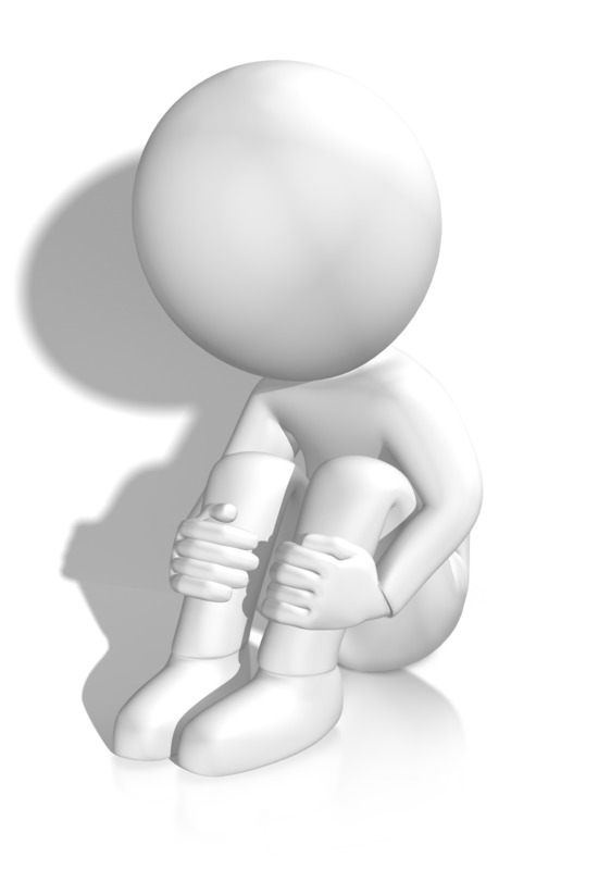 Clipart - Sad Figure By Wall