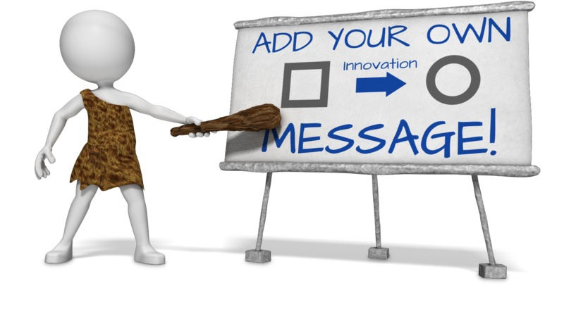 This Presentation Clipart shows a preview of Caveman Presenting Custom Board