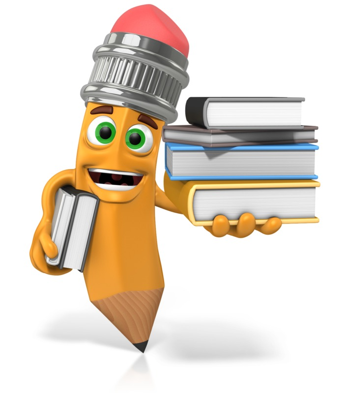 Clipart - Scribbles The Pencil Holding Books