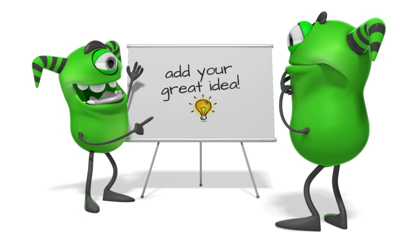 This Presentation Clipart shows a preview of Monsters White Board