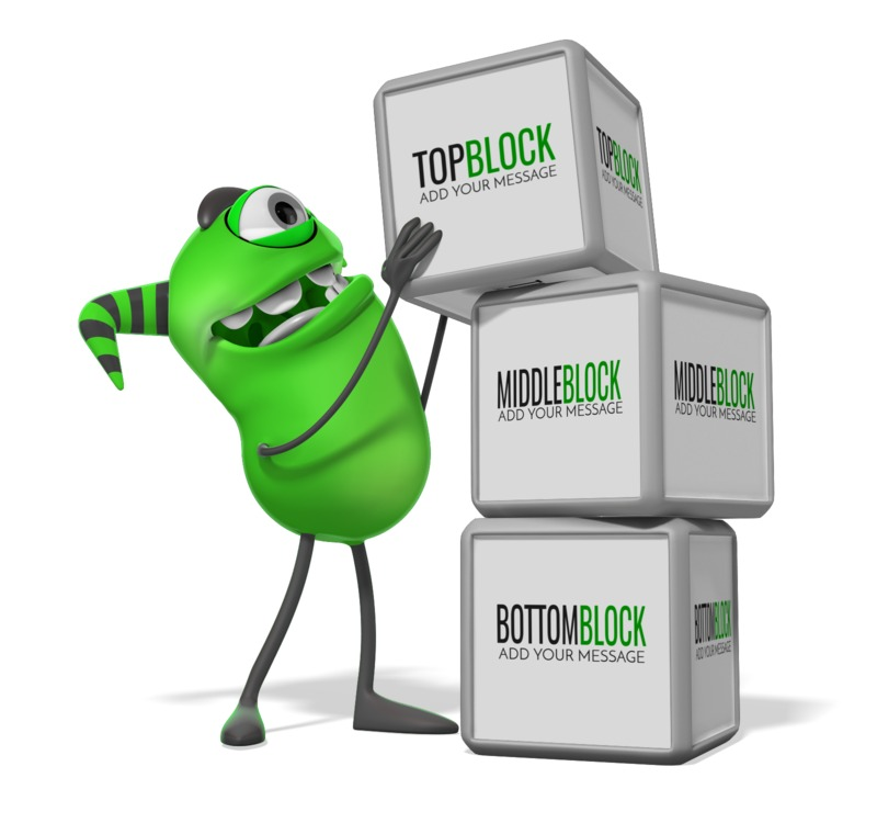 This Presentation Clipart shows a preview of Monster Three Blocks