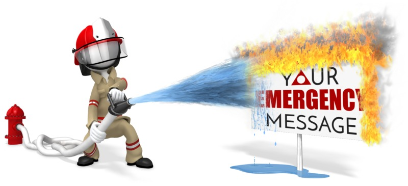 This custom design clip art shows a firefighter spraying a customizable sign that is on fire.