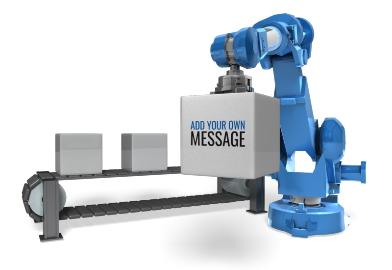 This Presentation Clipart shows a preview of Robot Arm Conveyor Belt