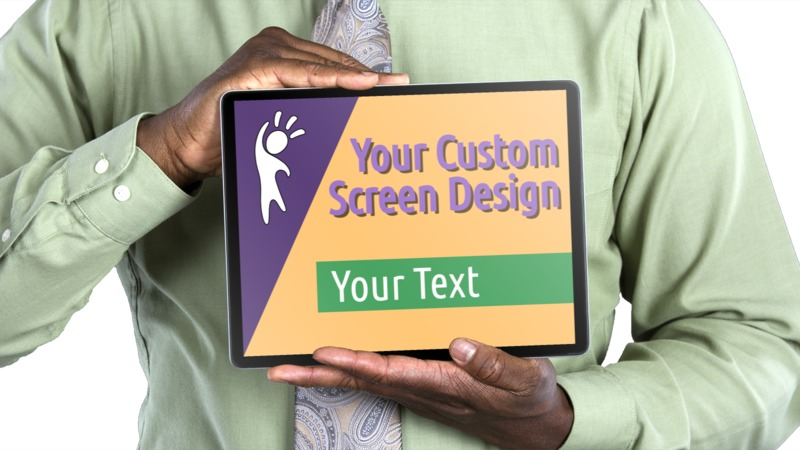 This Presentation Clipart shows a preview of Jake Holds Tablet Horizontal Custom