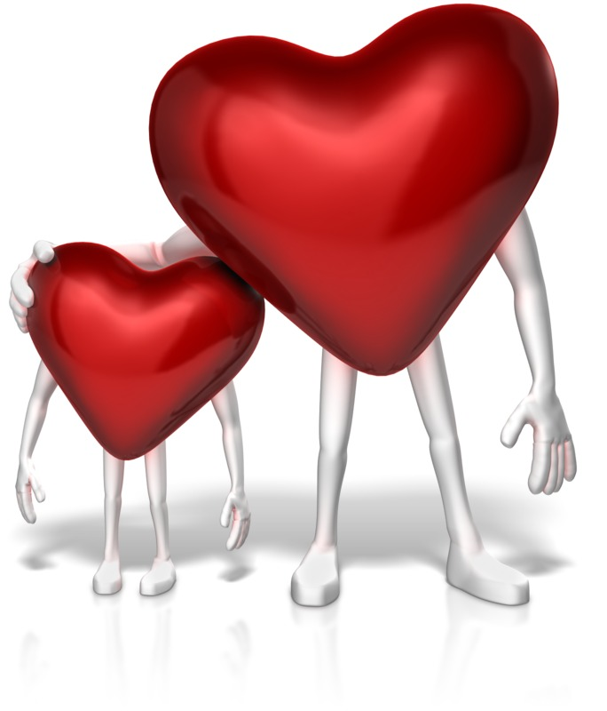 Clipart - Big Heart Shows Compassion to Small One