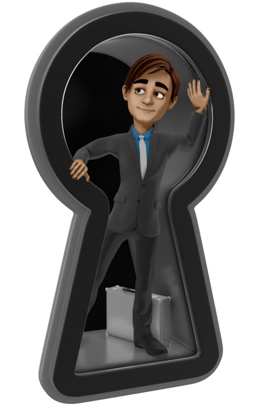 Clipart - Brad Looking Out Keyhole