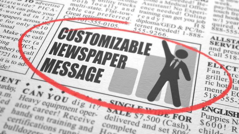 Put your own custom message in this newspaper classified.
