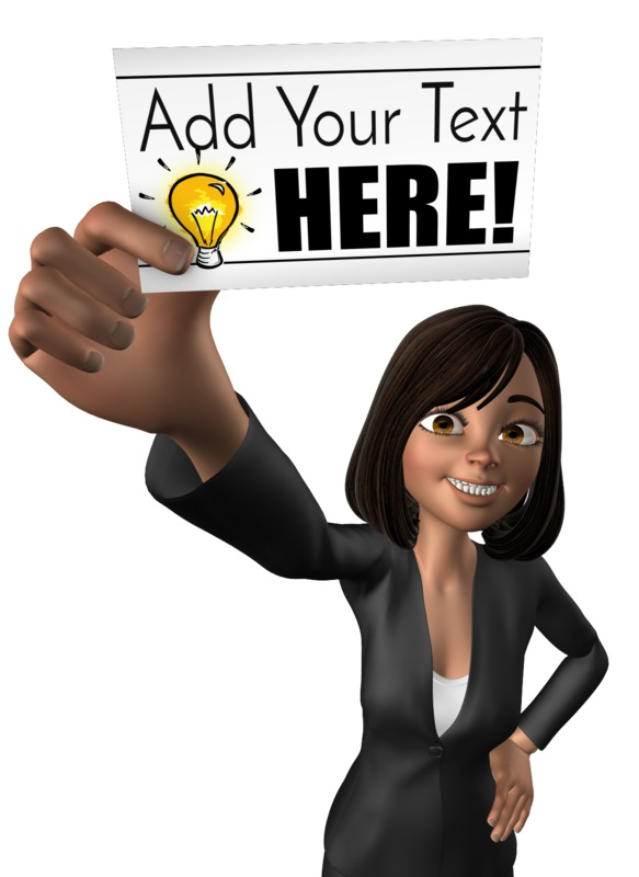 This Presentation Clipart shows a preview of Talia Holding Blank Card