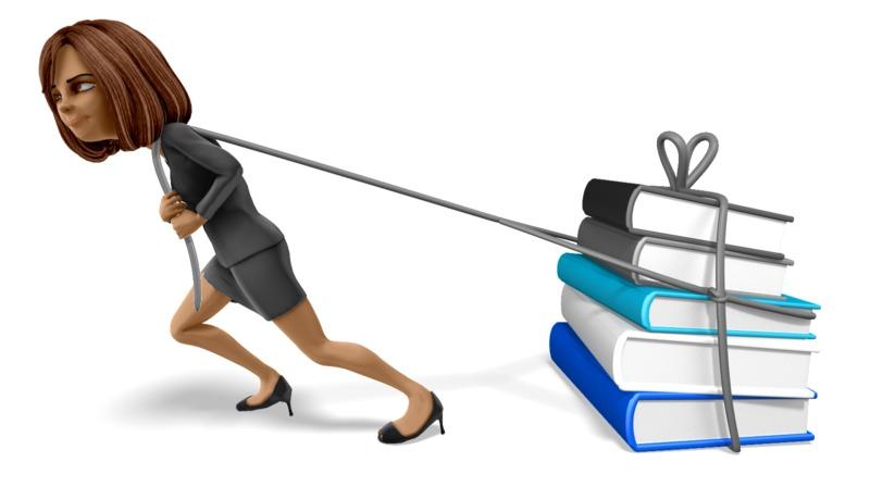 Clipart - Talia Pulling A Load Books