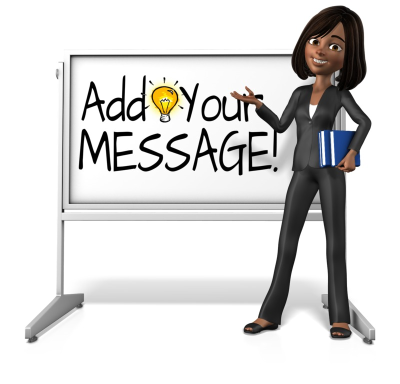 This custom design clipart image shows the character Talia by a whiteboard holding onto books.