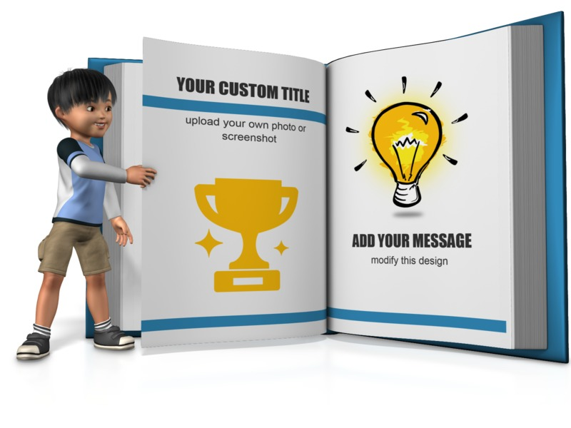 This Presentation Clipart shows a preview of Boy Turning A Custom Page