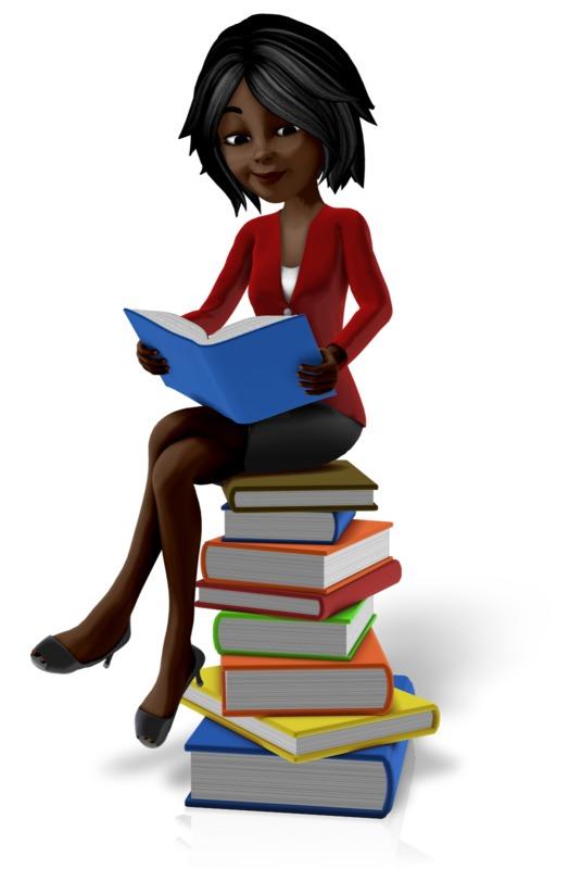 Clipart - Talia Sitting On Pile Of Books