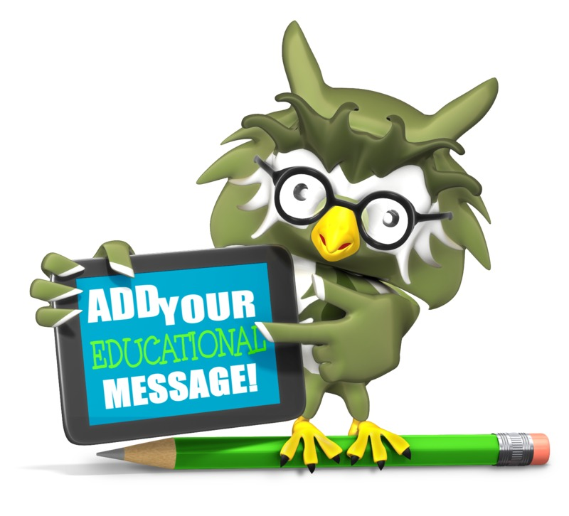 This Presentation Clipart shows a preview of Owl Holding Custom Tablet