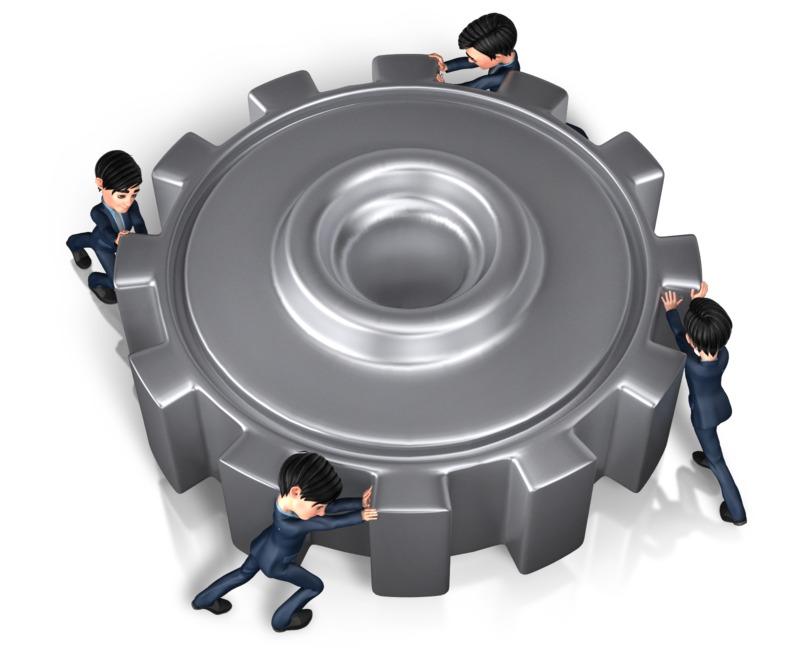 Clipart - Businessmen Push Gear