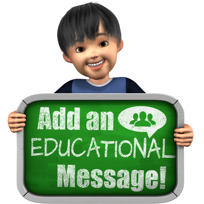 This Presentation Clipart shows a preview of Boy Holding Custom Chalkboard Sign