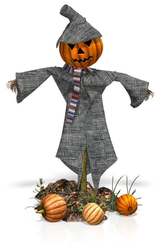 Clipart - Scarecrow Pumpkins